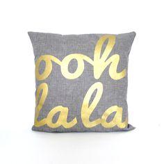 Ooh La La Grey Linen pillow FREE SHIPPING by KatieScarlettCo, $24.50