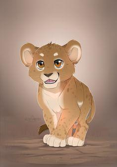 lion cub by azzai Cartoon Drawings, Animal Drawings, Cartoon Art, Animal Illustrations, Anime Lion, Anime Cat, Anime Animals, Baby Animals, Lion Cub