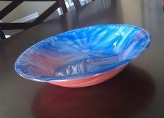 Blue & Orange 10 inch Vessel or Bowl   Fused Glass , $60.00