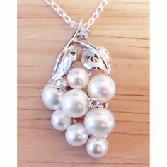 """Sterling Silver, CZ Accents & White Freshwater Pearl """"Grapes"""" Pendant complete with sterling silver chain."""