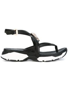 PHILIPP PLEIN Embellished Wedge Sandals. #philippplein #shoes #sandals