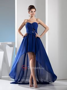 Beaded Strapless Hi Lo Chiffon Prom Dress with Criss Cross Detail