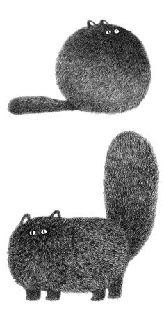 Fluffy cat illustrations by Kamwei Fong #catart