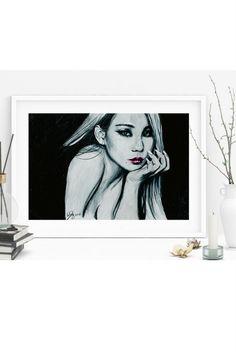 CL 2ne1 kpop baddest female gzb chaelin fanart illustration drawing art print