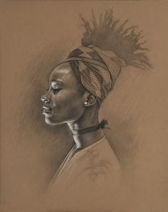 Oyin by Sara Golish, via Flickr  www.saragolish.com #portrait #drawing #sketch #profile #headwrap #choker #pearearring