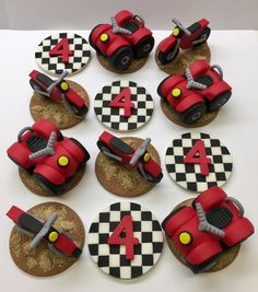Fondant Dirt Bike and 4 Wheeler Cupcake Toppers, ATV Cupcakes, Motorcycle Cupcakes, BMX Cupcakes, Re Bmx Cake, Motorbike Cake, Motorcycle, Bike Birthday Parties, Dirt Bike Birthday, 5th Birthday, Birthday Ideas, Video Game Cakes, Edible Glue