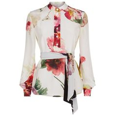 Lanvin Floral Tie Neck Silk Blouse ($1,465) ❤ liked on Polyvore featuring tops, blouses, white blouses, floral silk blouse, neck-tie, floral blouses and white silk blouse
