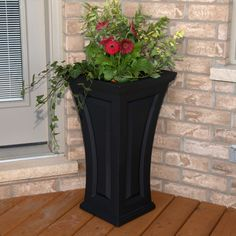 Classy Tall Outdoor Planters Next To Front Door With Mayne Inc. Cambridge Tall Patio Planter Box Black Design~ Popular Home Interior Decoration Tall Outdoor Planters, Patio Planters, Flower Planters, Flower Pots, Black Planters, Diy Flower, Front Porch Flowers, Front Porches, Wall Molding