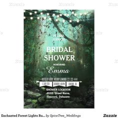 Enchanted Forest Lights Rustic Bridal Shower 5x7 Paper Invitation Card