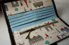 artchala handmade: Welcome to Paris Long Wallet (inner blue) SOLD