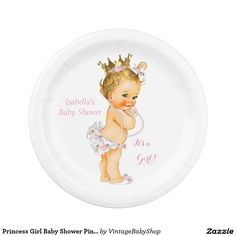 Princess Girl Baby Shower Pink Gold Crown Blonde 7 Inch Paper Plate