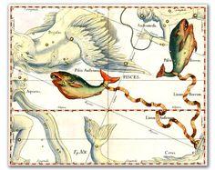 Pisces Constellation vintage celestial map by DejaVuPrintStore, $8.90