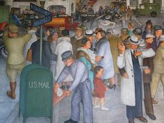 Diego Rivera [Mexican Social Realist Muralist, Oil paintings reproductions for sale. Coit Tower San Francisco, San Francisco Travel, Industrial Artwork, Diego Rivera, Oil Painting Reproductions, California Travel, Museum, Murals, Illustration