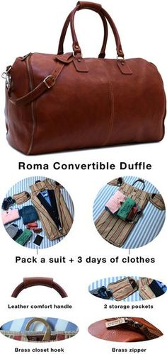 The Roma Garment Duffle Bag packs a suit + your clothing. The inside has 2 multi-function pockets for shoes, tablets, and bulky charges. Uni-zipper design provides easy access to inside storage when traveling through TSA. The best part is it comes in full grain vegetable tanned Saddle Brown leather and is finished with brass zipper and hardware.