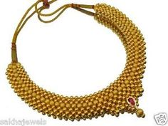 8.77 gm 916 /22k pure gold Thushi necklace Maharashtrian traditional gold beads