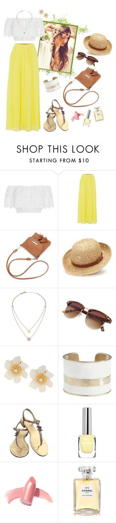 """Yellow Dream"" by spells-and-skulls ❤ liked on Polyvore featuring Miguelina, HUGO, Chaps, Michael Kors, Lydell NYC, Lucky Brand, Chanel, Elizabeth Arden, Summer and skirt"