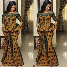 Classy picture collection of Beautiful Ankara Skirt And Blouse Styles These are the most beautiful ankara skirt and blouse trending at the moment. If you must rock anything ankara skirt and blouse styles and design. Latest African Fashion Dresses, African Dresses For Women, African Print Dresses, African Print Fashion, Africa Fashion, African Attire, African Wear, Ankara Skirt And Blouse, Ankara Dress