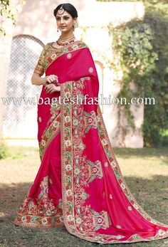 Faux Georgette Pink Zari Embroidered, Moti Work, Thread Embroidered saree with Raw Silk blouse wholesale from Yogeshvarexport Surat Indian Designer Sarees, Designer Sarees Online, Indian Sarees, Pakistani, Wedding Sarees Online, Saree Wedding, Blush Gown, Only Clothing, Lehenga Style