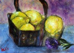 Lemons in a basket  oil on canvas board finger painting