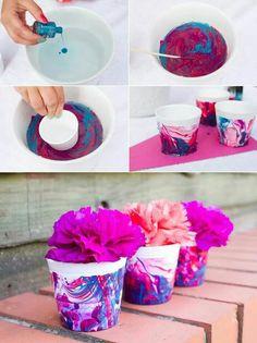 Water marble flower pots