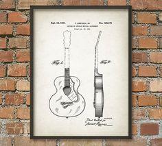 Gitarre Patent Drucken Wand Kunst Poster Musical von QuantumPrints