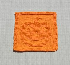 Knit Dishcloth PUMPKIN. Hand Knitted Unique by AuntSusansCloset.  Mr. Pumpkin Face has found several new homes.  More coming in November . . .