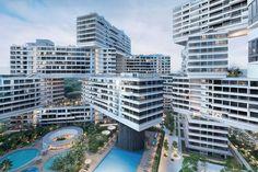 Construído na 2013 na Singapura. Imagens do Iwan Baan. TheInterlace está localizado em um terreno elevadode oito hectares, delimitado pelas viasAlexandra eAyer Rajah, em meio aos verdejantes cumesdo...