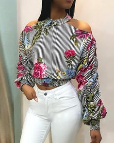 Cold Shoulder Striped Floral Print Blouse We Miss Moda is a leading Women's Clothing Store. Floral Stripe, Stripe Print, Estilo Fashion, Ideias Fashion, Long Sleeve Tops, Long Sleeve Shirts, Sewing Shorts, Corsage, Printed Blouse