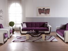 Wonderful Purple And White Modern Living Room Sets With Iconic Seats On Striped Rugs