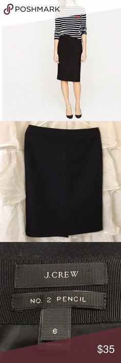 J. Crew No 2 Pencil skirt- Black Wool Perfect. The timeless wool pencil skirt, you will wear it forever. No flaws, worn two times only. J. Crew Skirts Pencil