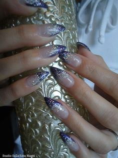 Purple french with silver glitter by SaZa from Nail Art Gallery