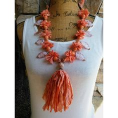 Please Pin if you like this new design!   Sizzling Summer Sale!   #blingbeadedbaubles   Check out 20% OFF Summer Sale!!!! Use Code: 20OFF  Gypsy Style, Boho Chic, Tassel, Fair Trade Sari Silk Ribbon, Statement Necklace