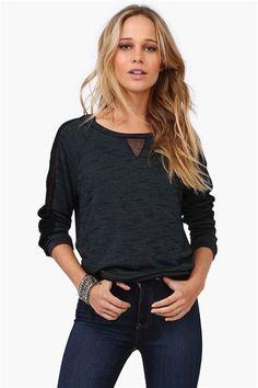 Sienna Sweatshirt (Sheer V on front, and sheer shoulder panels!!!)