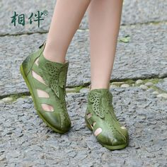Fashion sandals flat women cool boots handmade vintage comfortable cutout female flat boots for summer ladies sandals