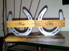 Upcycled horseshoes, scrap wood and we have a beautiful place holder for the wedding.