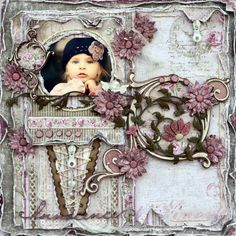 Innocence ~ Gorgeous vintage style page with a lace-up cone and chipboard flourishes...wow!