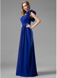 A-Line/Princess One-Shoulder Floor-Length Chiffon Bridesmaid Dress With Ruffle (007004153) - JJsHouse