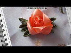 Diy ribbon roses, how to make satin ribbon roses,kanzashi  tutorial - YouTube