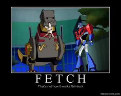 This scene is even funnier when you realize David Kaye provided both of their voices. Transformers Animated Optimus and Grimlock Grimlock Transformers, Transformers Memes, Transformers Bumblebee, Old Kids Shows, Rescue Bots, Geek Culture, Haha Funny, Batman, Animation