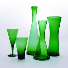 Winston glassware, by Per Lutken 1956. Don't you love the shapes and green color?