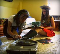 Two hipsters and a record player 650