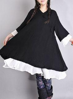 Black White Tops cotton upper wear women dress by fashiondress6, $78.00