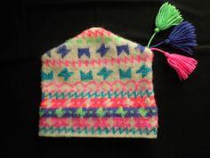 Vintage 90s Murray Merkley Wool Neon Kids Ski Winter Hand Knit Stocking Hat