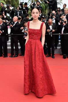 Zhou Yun wears ELIE SAAB Pre Fall 2015 to the closing ceremony and 'La Glace Et Le Ciel' Premiere during the 68th annual Cannes Film Festival.