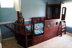 Pirate Boat Bed  Awesome Wooden Pirate Bed  by AdventureBeds, $3750.00 My daughter would love this!