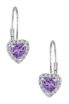 10K White Gold Amethyst & Diamond Halo Heart Earrings