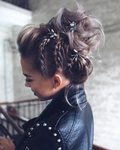 Braided Bun Hairstyles: Get Free Inspiration From This Hair! - Braided Bun Hairstyles: Get Free Inspiration From This Hair! Bride Hairstyles For Long Hair, Formal Hairstyles, Hairstyle Ideas, Bun Hairstyles, Gorgeous Hairstyles, Classic Hairstyles, Braids With Curls Hairstyles, Natural Hairstyles, Hairstyles For Pictures