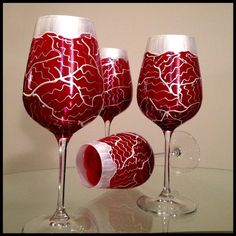 Hand Painted Wine Glasses. Custom Valentine's Day Tudor Flower Abstract Design