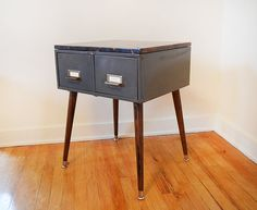 Large Card Catalog Side Table or Nightstand with Distressed Reclaimed Wood Top