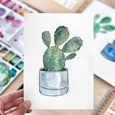Good objects - 11 easy steps to paint a cactus with watercolor - New video on YouTube! If you are looking for a really easy project for the weekend I think you should try this! If you subscribe to the newsletter on my webpage, you can even get the template of the cactus drawing. If you are already subscribed, check your email. #goodobjects #watercolor #illustration